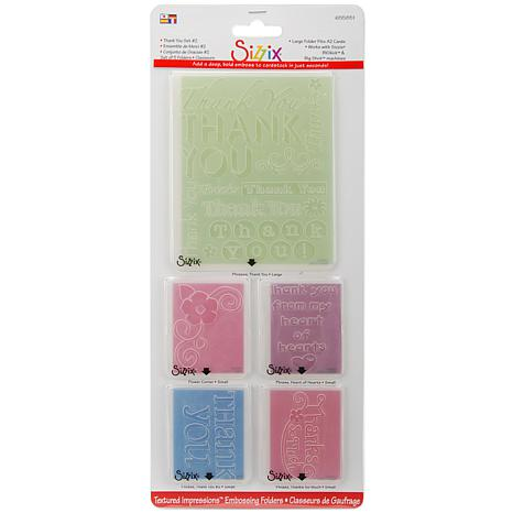 Sizzix Textured Impressions A2 Embossing Folders 5/Pkg - Thank You #2
