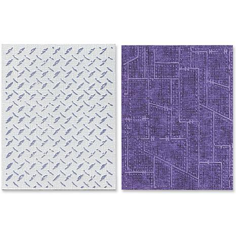 Sizzix Tim Holtz Embossing Folders 2pk - Diamond/Metal