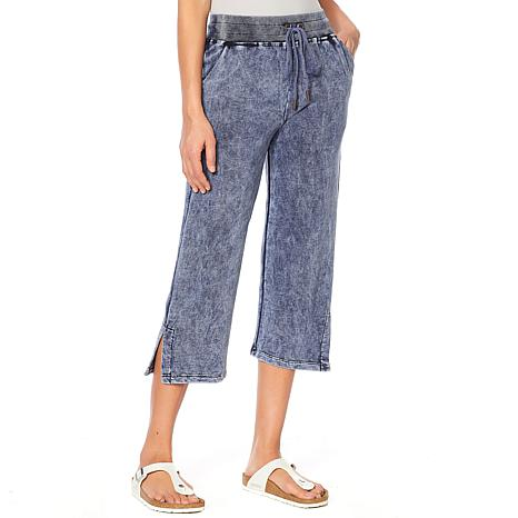 Skinnygirl French Terry Straight-Leg Cropped Pant