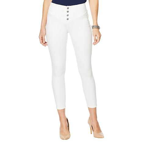 Skinnygirl High-Rise Skinny Ankle Sailor Pant - White