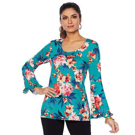 Slinky® Brand 2-pack Bell Sleeve Print and Solid Tunics