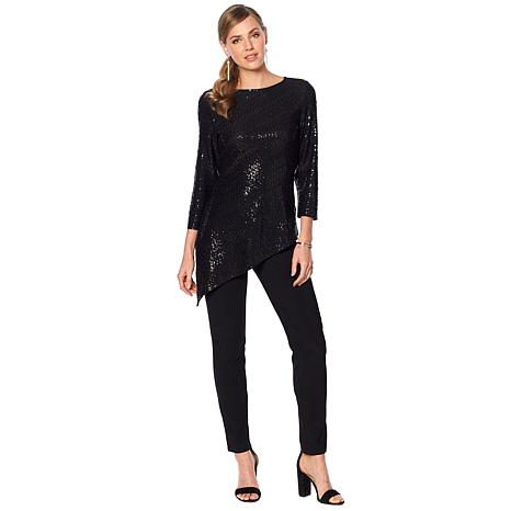 Slinky® Brand 2-piece 3/4-Sleeve Sparkle Tunic and Solid Pant