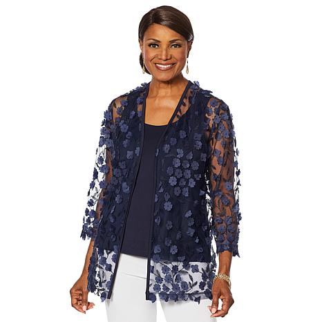 Slinky® Brand 2pc 3-D Floral Jacket with Solid Tank Top
