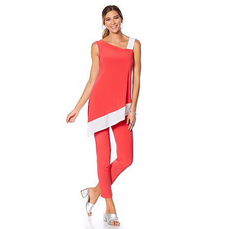 Slinky® Brand 2pc Asymmetric Colorblock Tunic and Pant