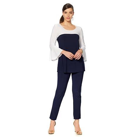 Slinky® Brand 2pc Bell-Sleeve Colorblock Long Tunic and Pant
