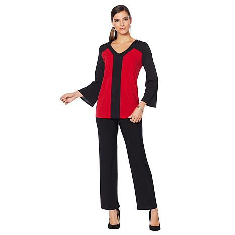 Slinky® Brand 2pc Flare-Sleeve Colorblock Tunic and Pant Set