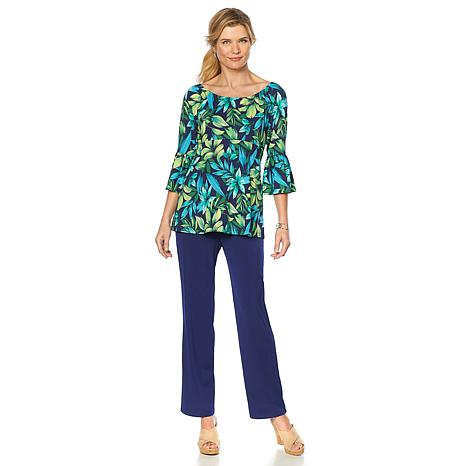 Slinky Brand 2pc On/Off-Shoulder Printed Tunic and Pant