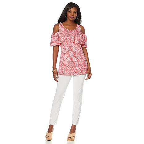 Slinky® Brand 2pc Printed Cold-Shoulder Tunic and Pant