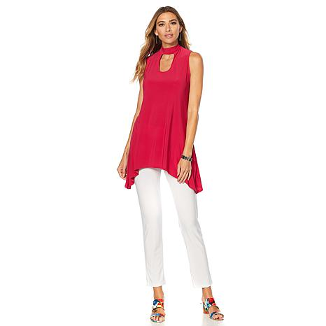 Slinky® Brand 2pc Sleeveless Sharkbite Tunic & Skinny Pant