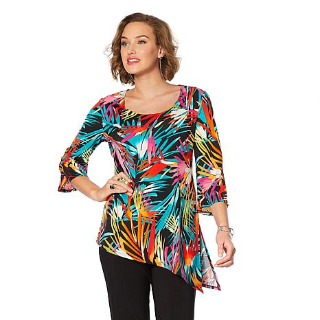 Slinky® Brand 2pk Angled-Hem Knit Tunics in Solid and Print