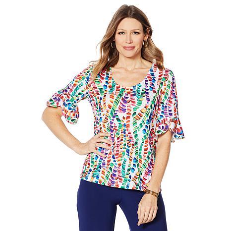 Slinky® Brand 2pk Ruffle Elbow-Sleeve Tunics