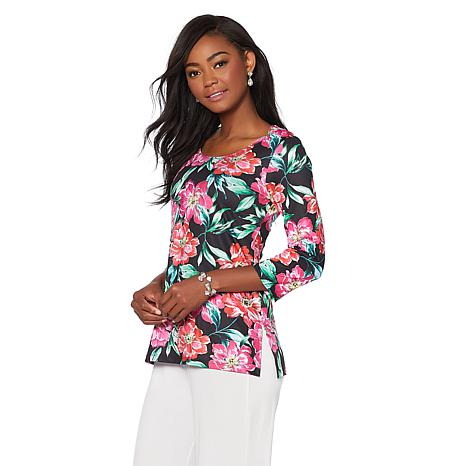 Slinky® Brand 3/4-Sleeve Printed Scoop-Neck Tunic