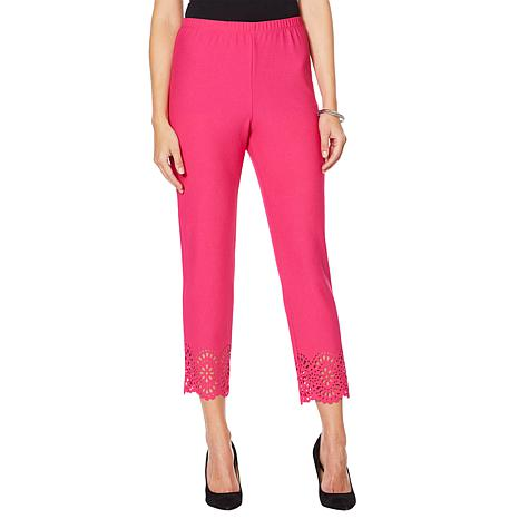 Slinky® Brand Ankle Pant with Laser-Cut Trim