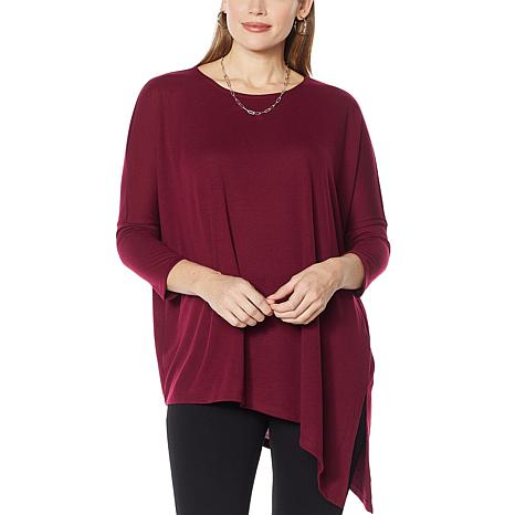 Slinky® Brand Asymmetric Hacci Knit Tunic with Dropped Shoulder