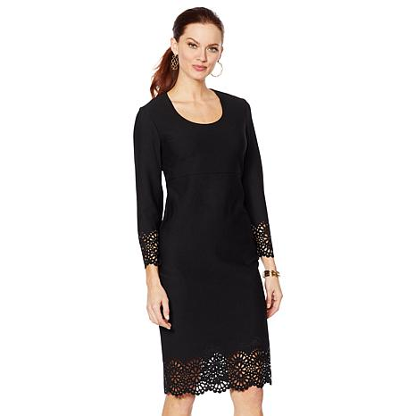 Slinky® Brand Boat-Neck Dress with Laser-Cut Detail