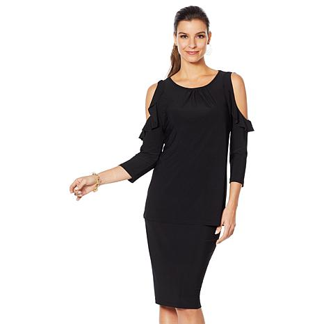 Slinky® Brand Cold Shoulder Ruffle Tunic and Pencil Skirt Set