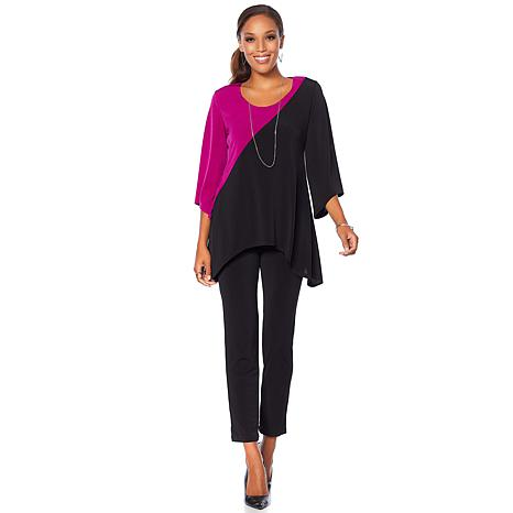 Slinky® Brand Colorblock Tunic with Skinny Pant Set