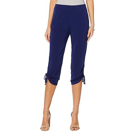 Slinky® Brand Cropped Pull-On Pant with Ruched Ties