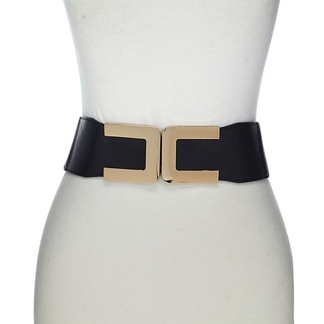 Slinky® Brand Elastic Belt with Faux Leather Trim