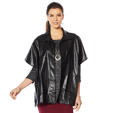 Slinky® Brand Faux Leather Open-Front Topper