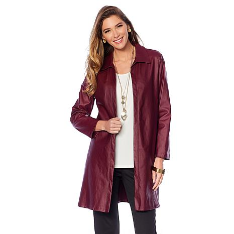 Slinky® Brand Faux Leather Trench Coat
