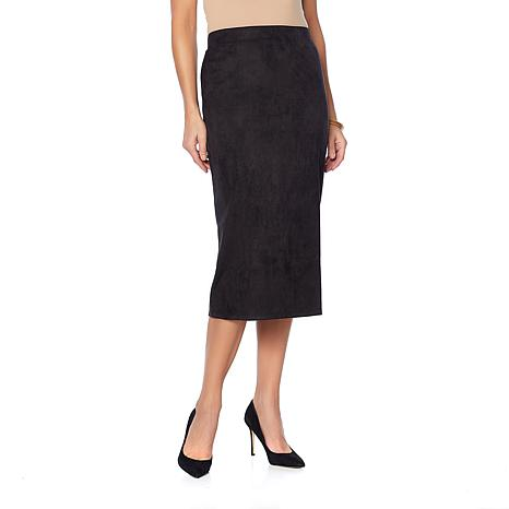 Slinky® Brand Faux Suede Midi Length Pencil Skirt