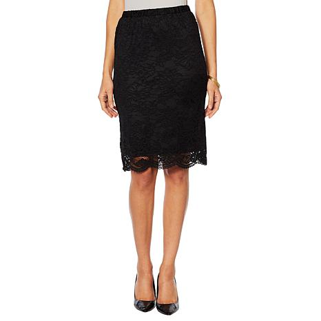 Slinky® Brand Lace Pencil Midi Skirt with Scalloped Hem