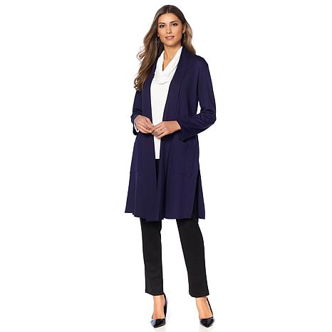 Slinky® Brand Long-Sleeve Ponte Duster with Pockets