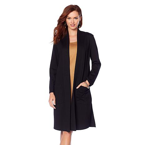 Slinky Brand Long-Sleeve Ponte Duster with Pockets