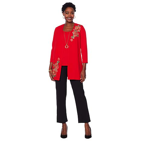 Slinky® Brand Luxe Crepe Duster with Floral Applique