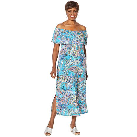Slinky® Brand Off-Shoulder Midi Dress