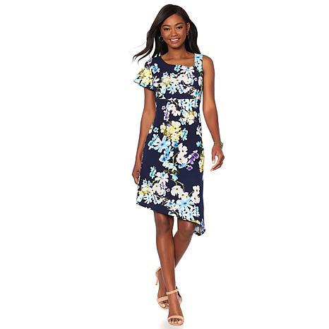 Slinky® Brand Printed Asymmetric Shift Dress