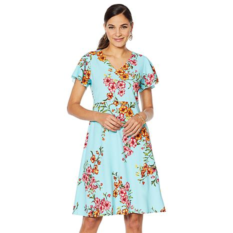 Slinky® Brand Printed Fit-and-Flare V-Neck Dress