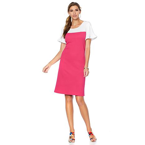 Slinky® Brand Ruffle-Sleeve Colorblock Textured Dress