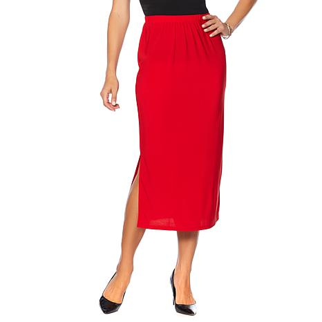 Slinky® Brand Solid Knit Maxi Skirt with Side Slits