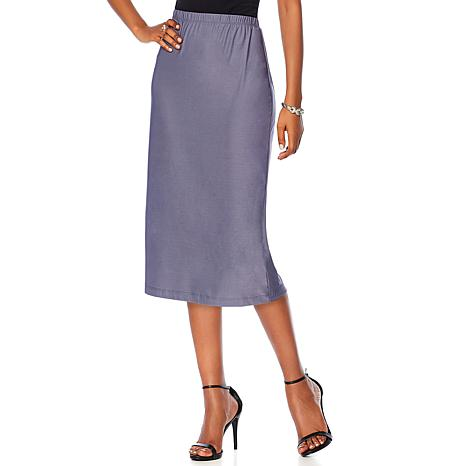 Slinky® Brand Solid Knit Midi Skirt with Back Slit