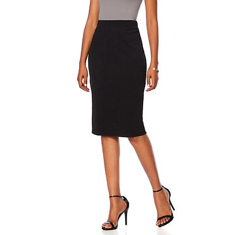 Slinky® Brand Solid Knit Textured Pencil Skirt