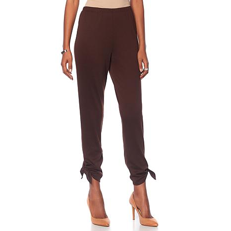 Slinky® Brand Solid Ponte Jogger Pant with Ankle Tie