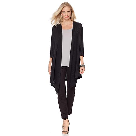 Slinky® Brand3/4-Sleeve Ribbed Sweater Duster