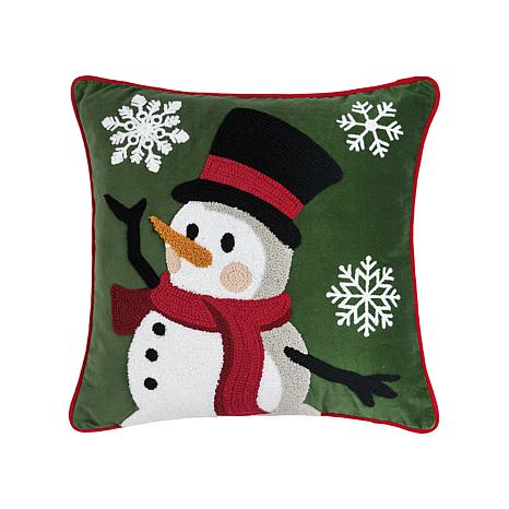 Snowman Dance Chain Stitch Pillow