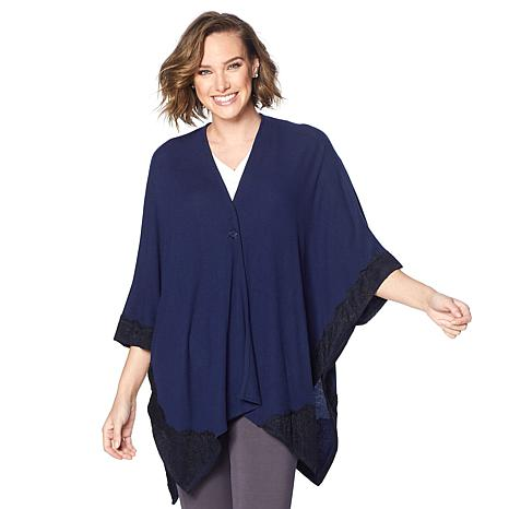 Soft & Cozy Brushed Hacci Knit Poncho with Lace Trim