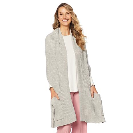 Soft & Cozy Cool Luxe Knit Sweater Wrap with Pockets