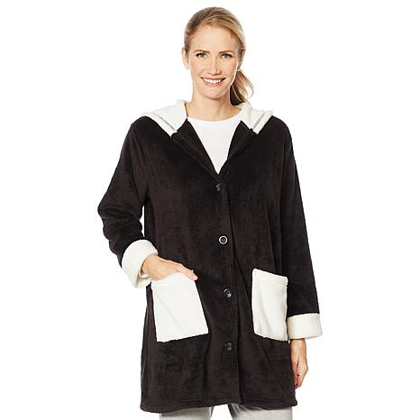 Soft & Cozy Hooded Button Front Robe with Pockets