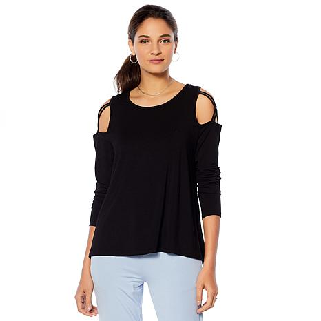 Soft & Cozy Loungewear Cool Luxe Knit Cold-Shoulder Top
