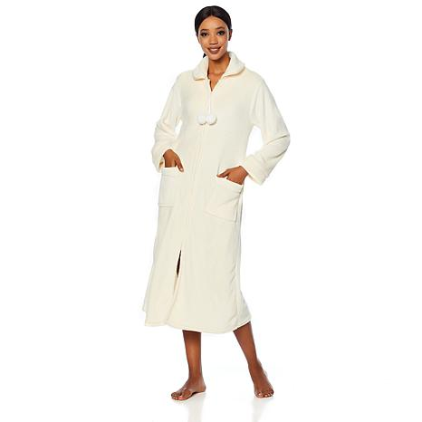5284200ed3 Soft   Cozy Loungewear Plush Zip-Front Long Robe - 8751223