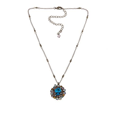 "Sorrelli Jewelry Blue and Multi Crystal 17"" Drop Necklace"