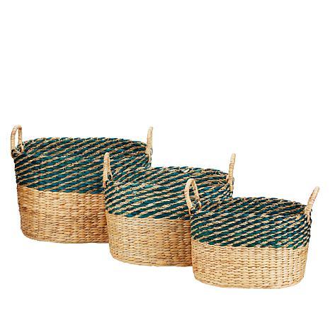 South Street Loft Set of 3 Water Hyacinth Baskets