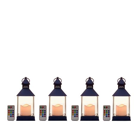 South Street Loft Set of 4 LED Color-Changing Lanterns with Remotes