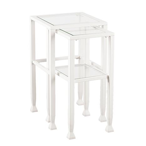 Southern Enterprises Cleo Metal/Glass Nesting Table Set