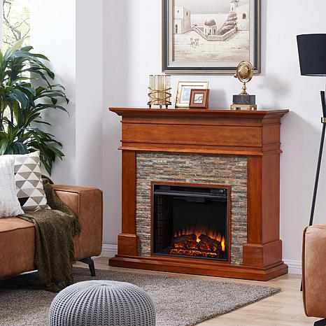 Southern Enterprises Warweck Faux Stone Infrared Fireplace Pine
